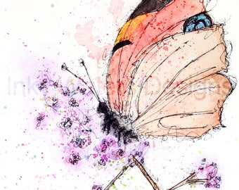 Original Butterfly watercolour painting giclee Print