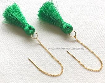 GG [gold & green] | Silky Tassel Earrings