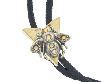 Bee  Bolo Tie, bee with stones  head charm , antique brass  bolo charm made in USA