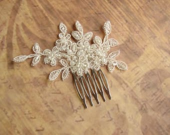 Bridal Hairpiece, Lace Hair Comb, Wedding Hair Comb, Lace Hair Piece, Wedding Hair Accessories, Ivory Headpiece, Bridal Hair Comb Vintage