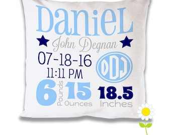 Personalize Birth Stats Pillow Cover - Monogram Birth Announcement Throw Pillow for Boys - Custom Baby Cushion - Baby Gift - Nursery Decor