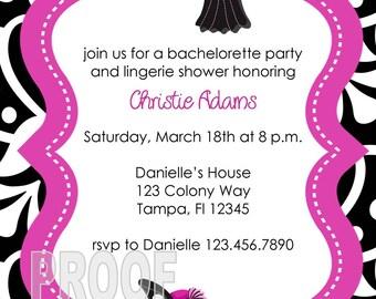 Custom Lingerie Bridal Shower and or Bachelorette Invitations