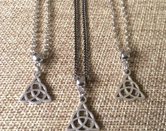Silver Trinity Knot Necklace - Celtic Knot Necklace - Triquetra Necklace - Mens Trinity Necklace - Mens Celtic Knot Pendant