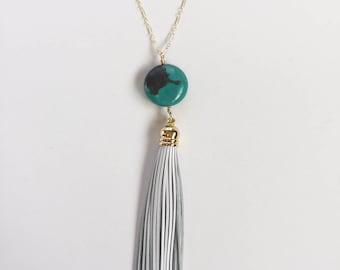 Long Necklace, Tassel Necklace, Turquoise Stone Pendant