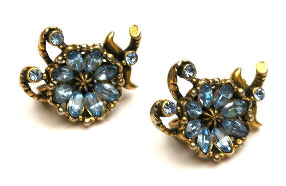 Hollycraft Rhinestone flower  scatter pins - Signed  Corp 1953 - light blue  crystal - floral brooches