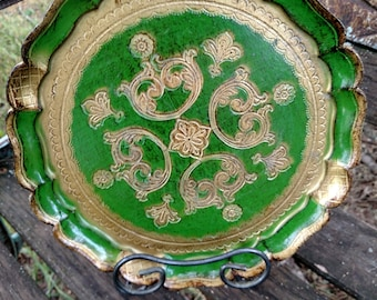 1950's Venetian style platter/ Jade green with a gold pattern
