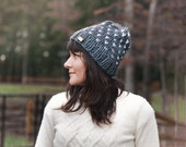 Slouchy Fall Beanie-  Winter Fair Isle Knit Hat - Slouchy Knit Hat - Chunky Knitted Beanie in Charcoal and Cream | The Constellation Hat |