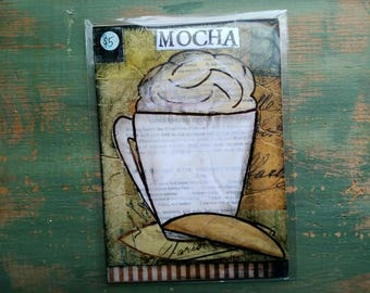 "SALE!  Coffee Print, 5""x7"" Mixed Media Print, Sale Print, Clearance print, Whimsical Coffee, Whimsical print, Coffee Art, Mocha Print"