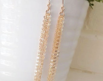 Super Sparkly Gold Tassel Earrings, Minimal Jewelry, Dripping Chain Earrings, Gold Filled, Dainty Long Earrings, Sterling Silver, Rose Gold