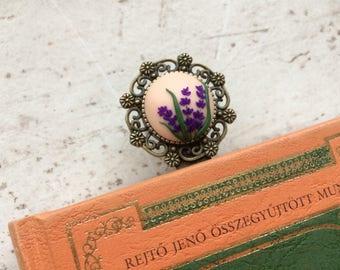 Lavender bookmark, vintage, polymer clay bookmark, purple bookmark, handmade bookmark