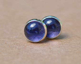 Blue Iolite Earrings handmade with Sterling Silver Studs. 6mm Cabochon Gemstones, violet, blue, perfect for birthday gifts.