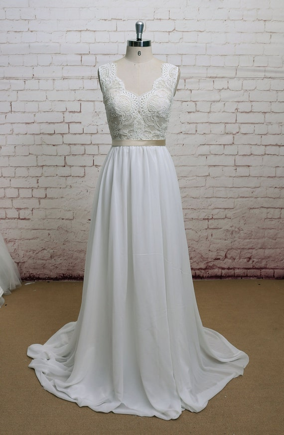 V-Back Wedding Dress with Chiffon Skirt A-line Style Bridal