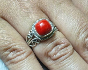 Coral Ring, coral silver ring, Sterling Silver ring, Red Coral Ring Silver, size US3 - US12, handmade ring, gift idea, statement ring