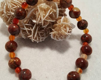 Red Brecciated Jasper with Carnelian beads with copper tone clasp