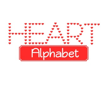 Heart Alphabet in SVG STUDIO Ai EPS  Instant Download for cutting files cricut explore silhouette cameo projects commercial use
