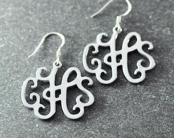 Free shipping - Personalized Monogram Earrings - Custom  Earrings - Silver Earrings - Bridesmaid Earrings - Bridal Earrings