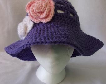 Girl's purple sun hat