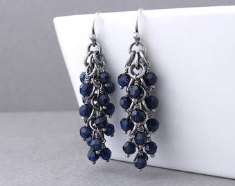 Navy Blue Earrings Crystal Drop Earrings Blue Crystal Earrings Silver Jewelry Beaded Earrings Beaded Jewelry Crystal Jewelry - Shaggy Loops