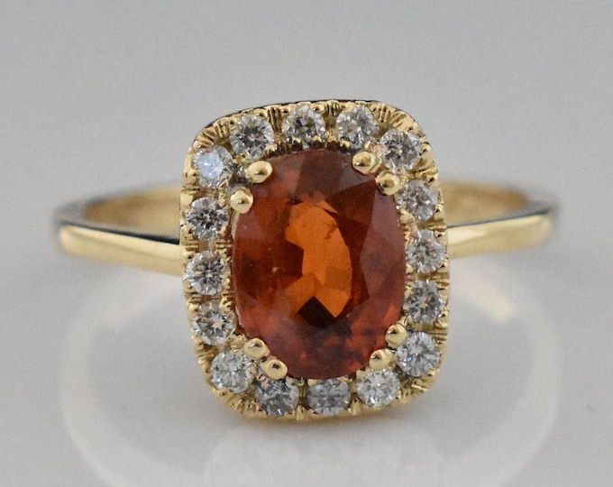 14K Gold Spessarite Garnet Ring | Diamond Halo | Wedding Ring | Statement Ring | Engagement Ring | Handmade Fine Jewelry | Anniversary Ring