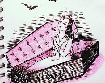 Coffin, original drawing by Johanna Öst