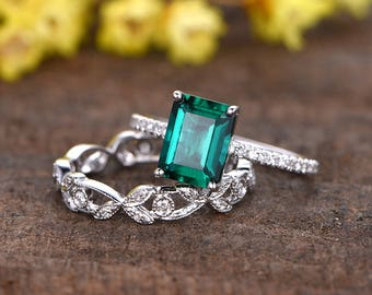 6x8 emerald cut treated emerald engagement ring set,14k white gold Floral diamond wedding band,2pcs ring set,promise ring,reco ring,handmade