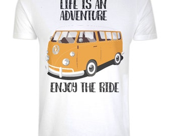 Organic 100% Cotton Camper Van T-shirt - Womens - Eco Ethical Sustainable - Life is an Adventure - Inspirational Quote