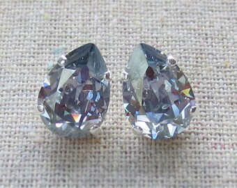 Swarovski Pale French Blue Crystal Teardrop Rhinestone Pear Silver Post Earrings Wedding Bridal Jewelry Bridesmaids Presents Gift for Her