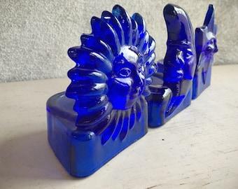 Cobalt Blue Glass Tea Light Candle Holders Sun Moon Star, Celestial Decor, Votive Candle