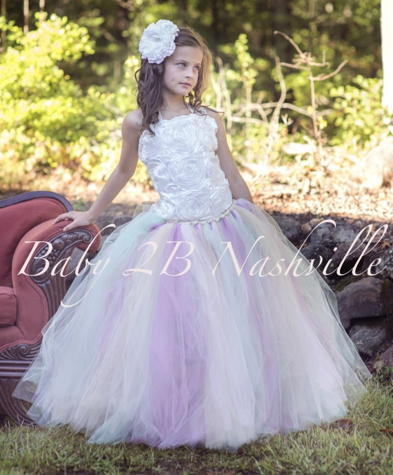 Vintage Ivory Wedding Flower Girl Dress  Rose and Mint Accents Detachable Bustle  All Sizes  Girls
