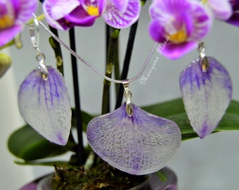Real flowers handmade jewellery set orchid necklace earings white purple