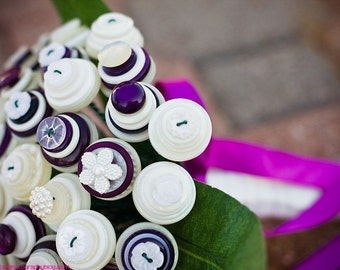 Aubergine Bridal Button Bouquet