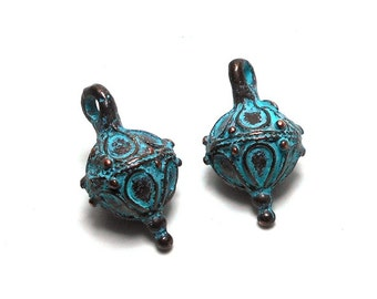 2 Blue Patina Decorative Ball with Bale, 13mm, Ornamental Charm, Mykonos Charm, Patina Charms, Ornate Charms, Ornament Charms PB0006