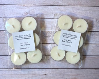 Soy Wax Tea Lights Unscented 100% All Natural Soywax Tealights