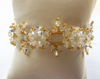 Bridal genuine Swarovski bracelet, white, adjustable, handmade beaded bracelet