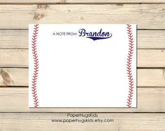 Baseball stationery, Baseball cards,  Sports Note Cards, Kids Thank You Cards, Personalized Stationery, Kids Note Cards / Set of 12 Flat