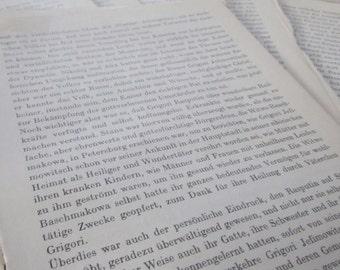 vintage GERMAN TEXT script--  for collage, paper crafts, etc (25 sheets)