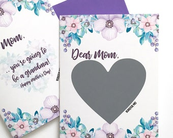 Mother's Day Pregnancy Reveal Card - Pregnancy Scratch Off Card For Mom - Purple Flowers Mother's Day Card For Mom - New Baby - New Grandma