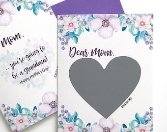 Muttertag Schwangerschaft offenbaren neue Oma - Schwangerschaft abkratzen Karte für Mama - lila Blumen zum Muttertagskarte für Mama - Baby - Karte