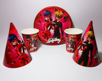 Miraculous Ladybug paper tableware. Ladybug Paper plates, cups, party hats for children's party, birthday or  holiday. Lady Bug party.