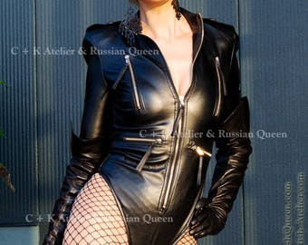 C+K dominant body with extra high shoulder and 7 metal zippers, imitation leather or PVC, new handmade