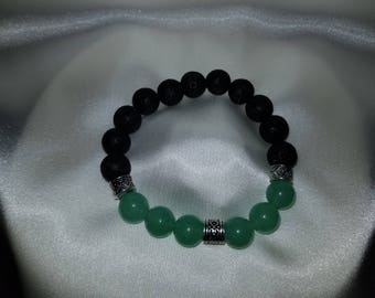 Faux Jade with Middle Spacer Essential Oil Diffuser Bracelet