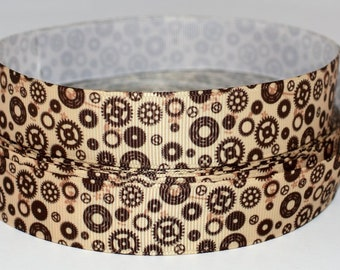 "Cogs and Gears 7/8"" Grosgrain Ribbon"