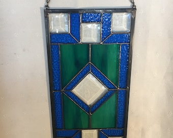 Blue and Green with bevels Geometric Panel