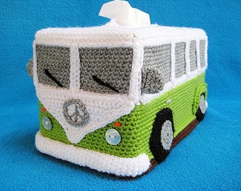 VW Campervan Bus Tissue Box Cover CROCHET PATTERN Pdf Hippie Style T1 Volkswagen Van