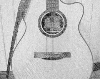 Guitar matted print item # M2005