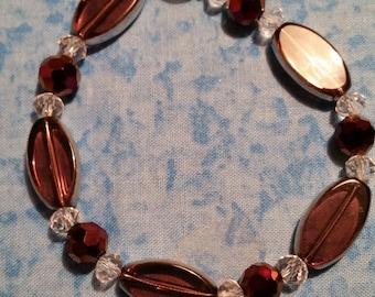Hand Beaded Purple Glass Bracelet