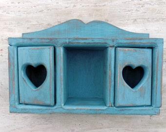 Country Kitchen Decor, Blue Shelf, Hanging Display Shelf, Knick Knack Shelf, Wood Wall Decor, Tchotchke Shelf, Bathroom Shelf, Wooden Shelf