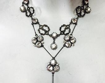 Crystal cluster Y necklace