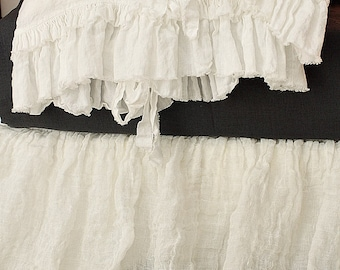 Linen pillowcase 'Sauvage' with double frayed ruffles and ties. Standard Queen King, Shabby Chic bedding, Sheer linen, prewashed pillow case