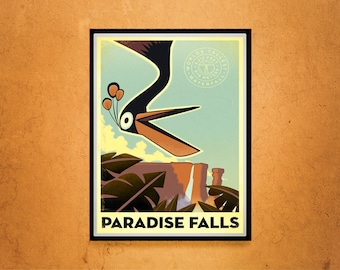 Reprint of a Vintage 1930s Paradise Falls Travel Poster